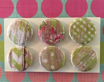 Green Barnwood print Magnets, one inch round