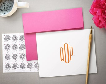 Personalized Stationery - Colorful Monogrammed Note Cards - Personalized Stationary