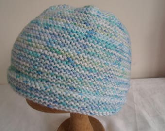 Blue/green/white handknitted hat