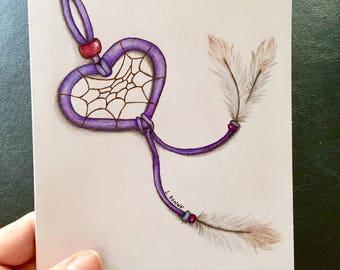 Dreamy Valentine Blank Greeting Card Folded Note