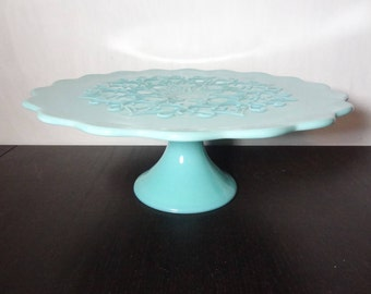 Vintage Fenton Spanish Lace Blue/Turquoise Milk Glass Pedestal Cake Stand - Wedding/Shower Cake Stand
