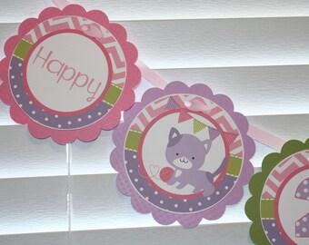 KITTEN Birthday Banner / Kitty Birthday Banner / Kitten Birthday Party / Kitty Birthday Party / & Kitty party banner | Etsy