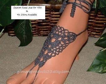 Pewter ~ Barefoot Sandals ~ Yoga Anklet Jewelry ~ Boho Hippie Legwear ~ Womens Footwear ~ Gray Crochet Beachwear ~ Beach Ankle Bracelet