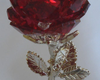 Red Crystal Rose made with Swarovski Crystal on Marble base