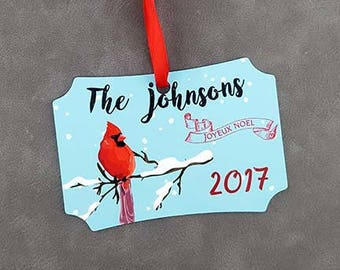 Cardinal Holiday Ornament, Personalized