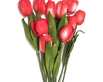 Two Tone Red Mulberry Paper Tulips Tul011