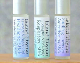Lavender Peppermint Headache Stick + Eucalyptus Fir Respiratory Stick + Soothing Lavender Aromatherapy Stick. -- amazing natural soothers!