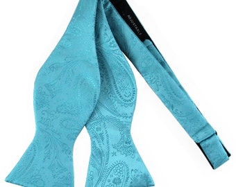New Men's Paisley Turquoise Blue Self-Tie Bowtie, for Formal Occasions