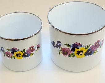 Vintage Enamelware Canisters, Two Pansy Flower Tins, 70s Kitchen Storage by GMI