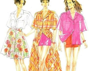 New Look 6716 Summery Shirt, Skirt and Shorts / 1990's SZ6-16 UNCUT