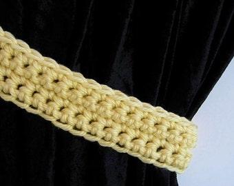 Curtain Tiebacks Set, One Pair Solid Pale Yellow Light Lemon Drapery Tie Backs Drapes Shower Curtain Holders Crochet..Ready to Ship & Custom