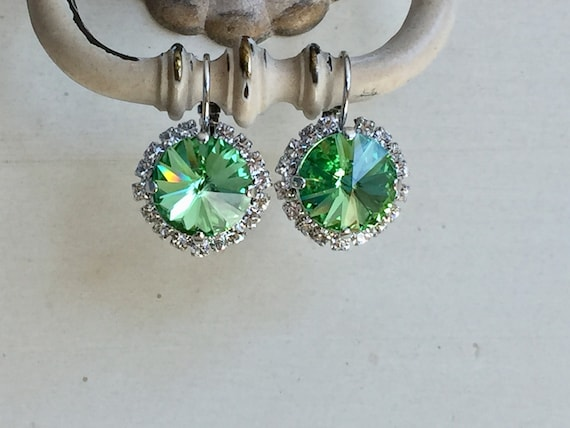 Peridot Swarovski Crystal Halo Earrings, Silver
