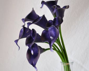 Real Touch Eggplant Picasso Calla Lilies for Bridal Bouquets, Purple Wedding Centerpieces, Home Decorations, Boutonnieres, Corsage Faux Call