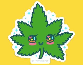 Kawaii Mary Jane Sticker, weed, pot, 420, vinyl, hash, blunt