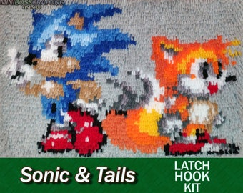 Sonic and Tails - Latch Hook Kit - DIY Latch Hook 15*12 Inches