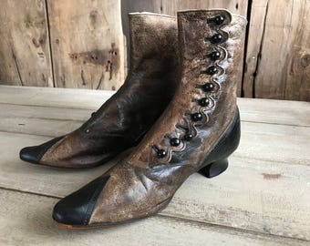 Antique Leather High Button Ankle Boots, Victorian Era, Black Brown, 1800s Clothing Costuming