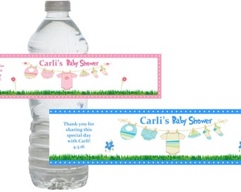 Baby Shower Clothesline Water Bottle Labels *Waterproof* (Set of 10) Just Peel and Stick!