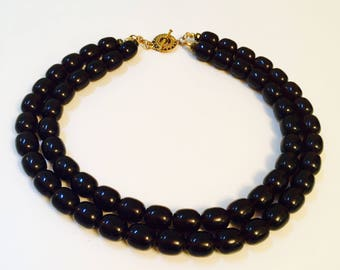 Double strand smoked topaz necklace  with fancy gold toggle clasp