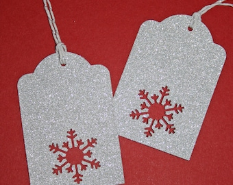 Silver Glitter Snowflake Christmas Tags - set of 5