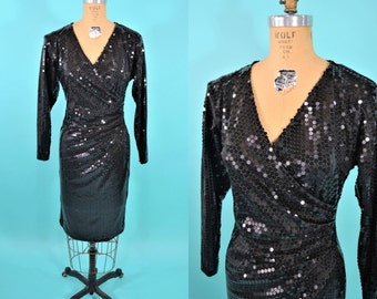 1980s sequin dress | black sequin wrap look pinup dress | vintage 80s dress | S