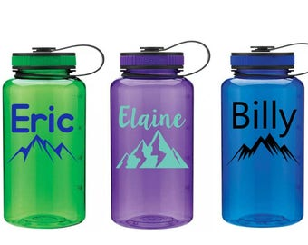 Mountain Water Bottle, Wide Mouth 34 oz Water Bottle, Hiking Water Bottle, Hiking Gear