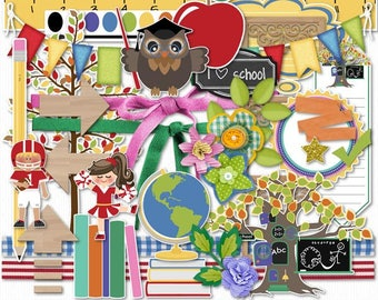 School Days Digital Scrapbook Elements