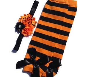 HALLOWEEN COLLECTION, Orange and Black Stripe Leg Warmers, Shabby Chic Headband, Baby Legwarmers, Fall Leggings, Halloween Leg Warmers