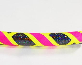 UV Glow Black Sparkle Neon Pink Yellow Collapsible Hula Hoop/ Glow /Fitness Hoop /  Workout/ Travel Hoop / Exercise / UV blacklight reactive