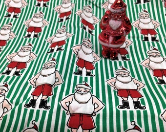 Sale!Vintage Christmas Fabric Santa in Boxer Shorts Candy Cane Stripe 4 yds.
