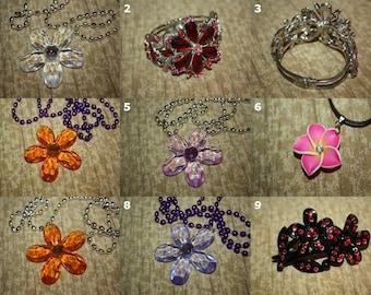 Jewel Flower Necklaces, Bracelets, Earrings, Hair Accessories - SELECT STYLE