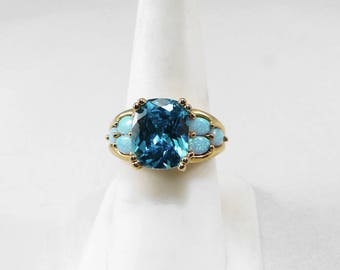 Teal Blue Emerald Cut Apatite Created Opals 14K Gold Vermeil Setting Size 7