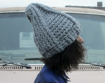 The Tepee Hat in Heather Gray/Chunky Winter Hat/Chunky Crochet Hat