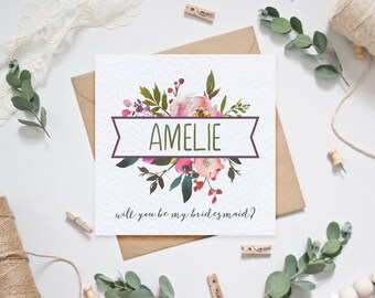 Personalised Bridesmaid Card - Will you be my bridesmaid?
