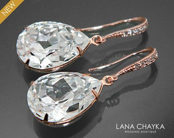 Rose Gold Crystal Bridal Earrings Swarovski Crystal Rhinestone Earrings Wedding Rose Gold Teardrop Earring Bridal Bridesmaid Crystal Jewelry