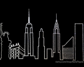 New York City Skyline Wall Art Manhattan Skyline Swarovski Crystal Cityscape Brooklyn bridge empire state manhattan bridge Decoration