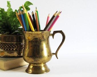 Vintage Brass Beer Mug in Velvet Gift Box - Brass Beer Stein - Brass Barware - Kitchen Utensil Holder - Office Desk Decor - Fathers Day Gift
