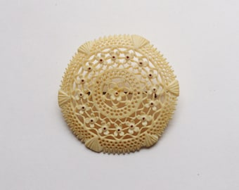 Lacy Hand Carved Bone Pin, Antique Round Brooch with Cut Out Flowers, C-Clasp Pin