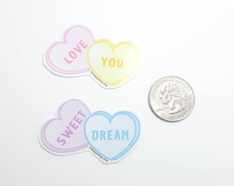 Sweet Candy Conversation Hearts Sticker - 2 Colors