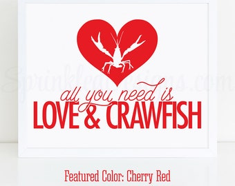 Crawfish Boil Decorations, All You Need Is Love & Crawfish Sign, Crawfish Boil Engagement Party Decor, Printable Crawfish Boil Party Sign