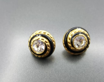Swarvoski  Sparkling crystal Pierced earrings Black enamel  with gold  Dazzling