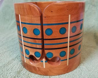 Cherry and  Blue Pearl Epoxy Wooden Yarn Bowl