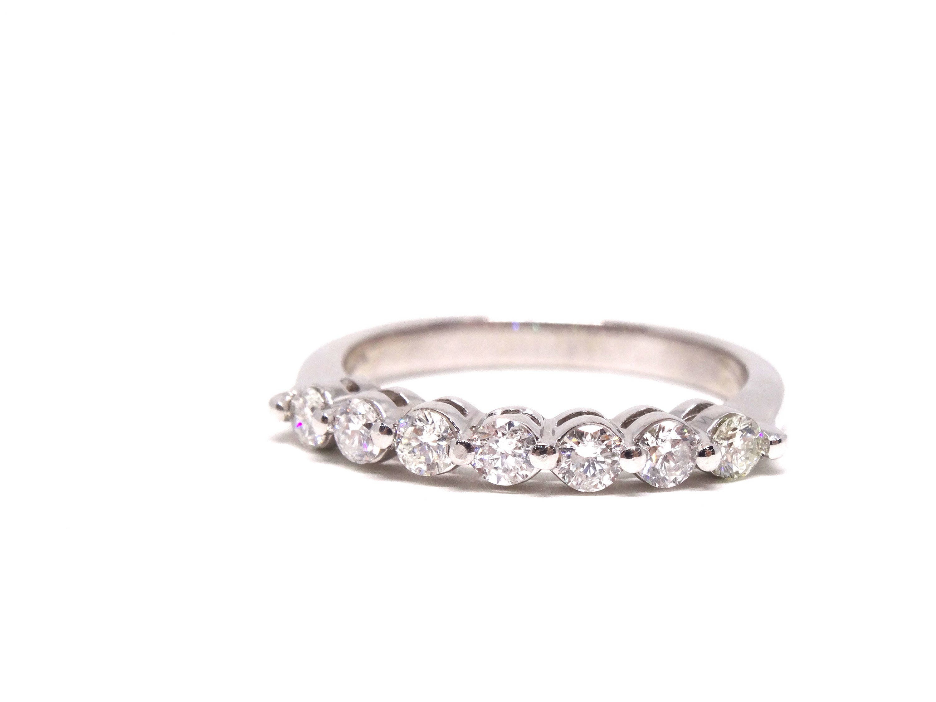 white band bands fishtail gold prong diamond anniversary