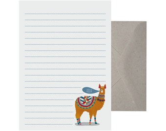Writing Set – Llama Hola. Letter Writing Set. Recycled Paper Writing Set. Note Paper. Stationery Set. Cute Letter Set.