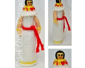 Ancient Egyptian Toy Knitting Pattern, Knitted Peg Doll, Doll Knitting Pattern, Knit Doll, Egyptian Costume,Knit Toy Yarn,Egyptian Peg Dolls