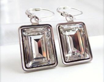 Clear crystal emerald cut earrings - Swarovski crystal - crystal earrings - clear crystal earrings - rectangle earrings - silver earrings