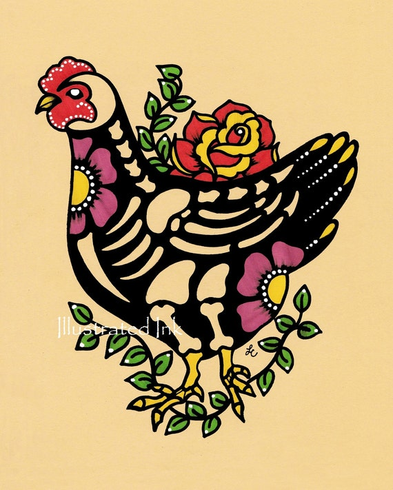 Day Of The Dead CHICKEN Mexican Folk Art Dia De Los Muertos