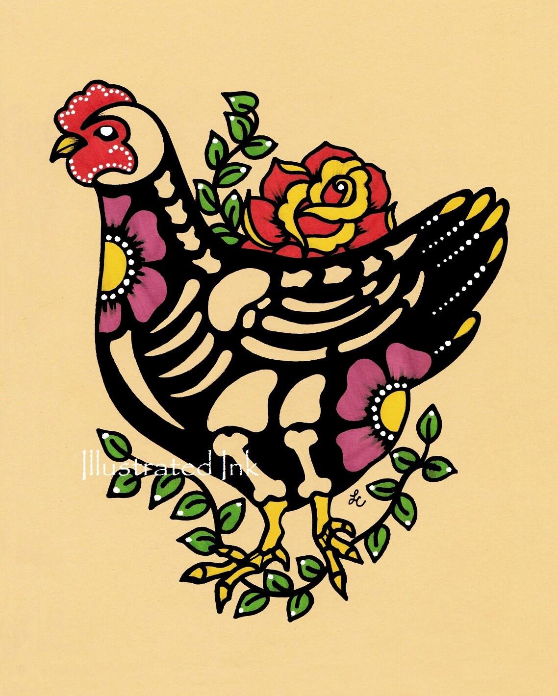 Day of the Dead CHICKEN Mexican Folk Art Dia de los Muertos