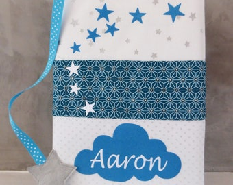 Protects health book white and blue with stars and cloud, customizable and bookmark choice
