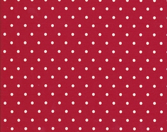 Cotton Tail Cottage - Red Polka Dot Fabric - Polka Dot Fabric - Bunny Hill Designs