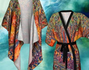 Woodland Batik Kimono Cardigan - Awaken Woodlands  Batik